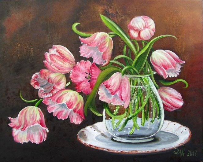 bild blumen tulpen vase blumenstrau von simone wilhelms bei kunstnet. Black Bedroom Furniture Sets. Home Design Ideas