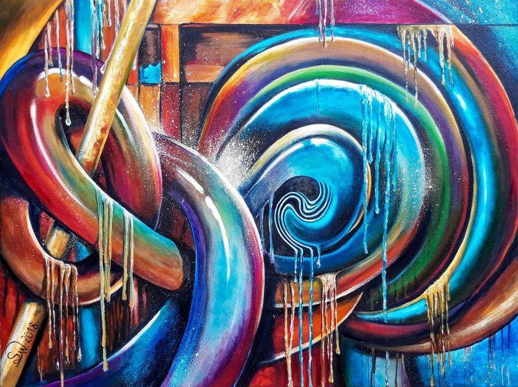 Schlange, Ausgelaufen, Bunt, Farben, Dynamik, Abstrakt