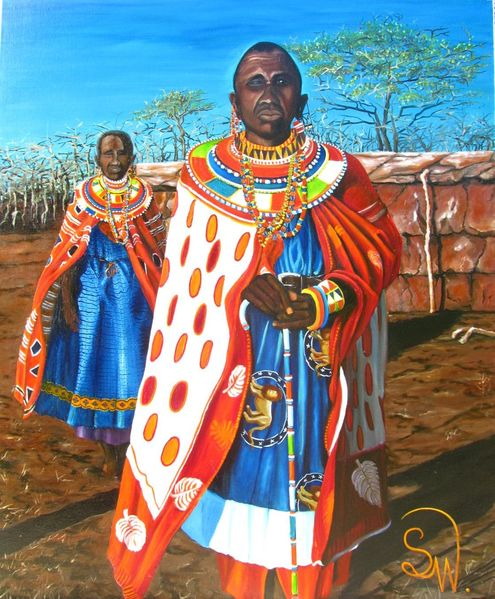 Massai, Farben, Afrika, Krieger, Malerei