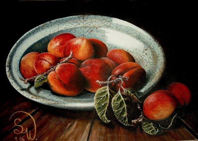 Blätter, Ernte, Früchte, Obst, Stillleben, Pfirsichteller