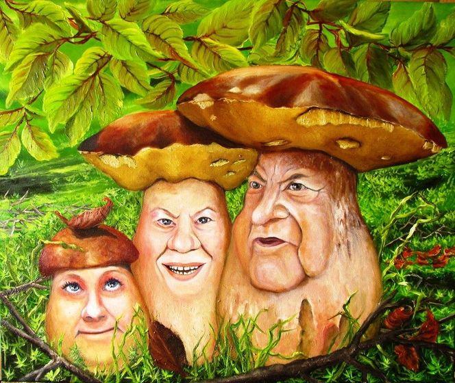 Blätter, Portrait, Wald, Herbst, Pilze, Malerei