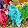 Lamm, Gefärbte schafe, Schafwolle, Malerei