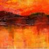Abstrakte kunst, Landschaft, Abend, Alpen