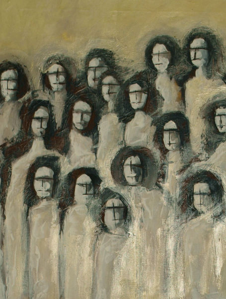 Malerei, Menschen, Warten