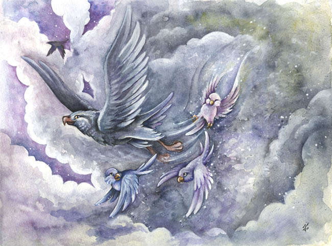 Papagei, Sturm, Schneesturm, Kinderbuch, Fantasie, Schnee