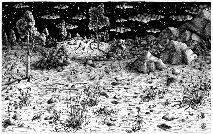 Buch, Landschaft, Nacht, Zeichnung, Zeichnungen