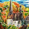 Bunt, Dorf, Kirche, Herbst