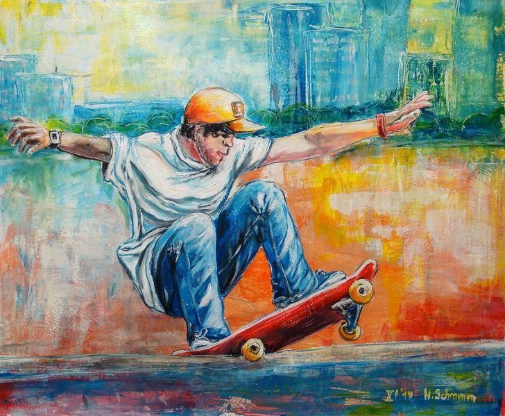 Jugend, Stadt, Sport, Freizeit, Bunt, Acrylmalerei