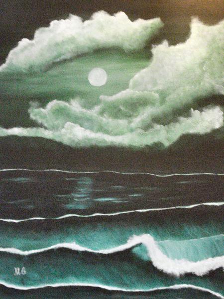 Meer, Sturm, Strand, Wasser, Mond, Bewölkt