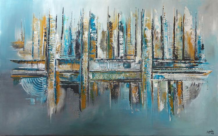 Acrylmalerei, Auftragsmalerei, Benzin, Wandbild abstrakt, Malerei, Wandbild