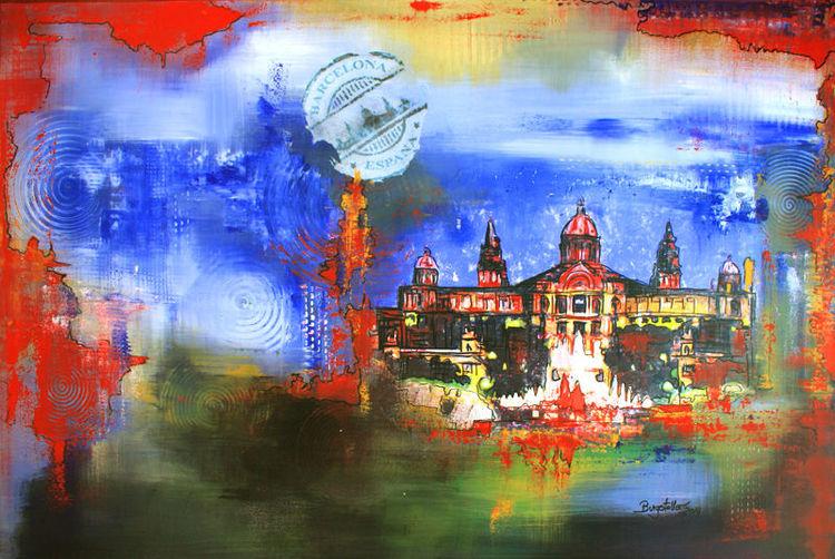 Dekoration, Büro, Acryl gemälde, Stadt, Rot blau, Praxis