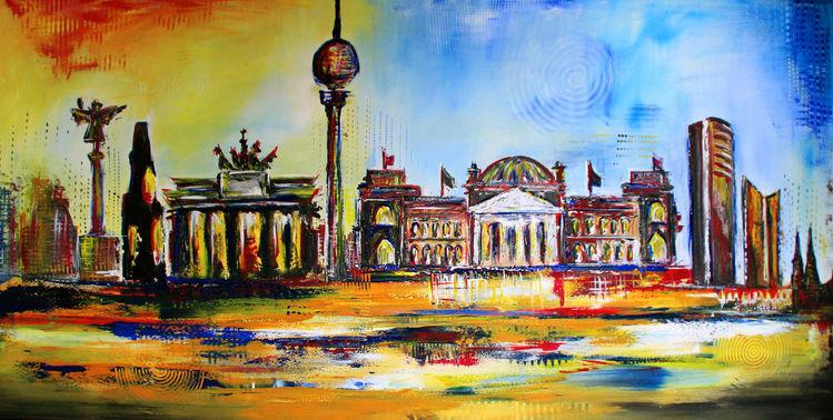 Stadt gemälde, Berlin handgemalt, Malen, Acrylmalerei, Querformat, Gelb