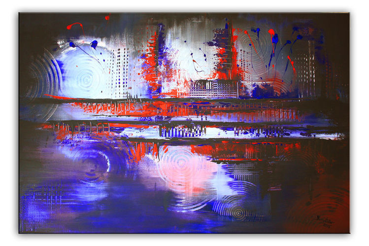 Modern, Wand, Abstrakt, Moderne malerei, Blau, Rot schwarz