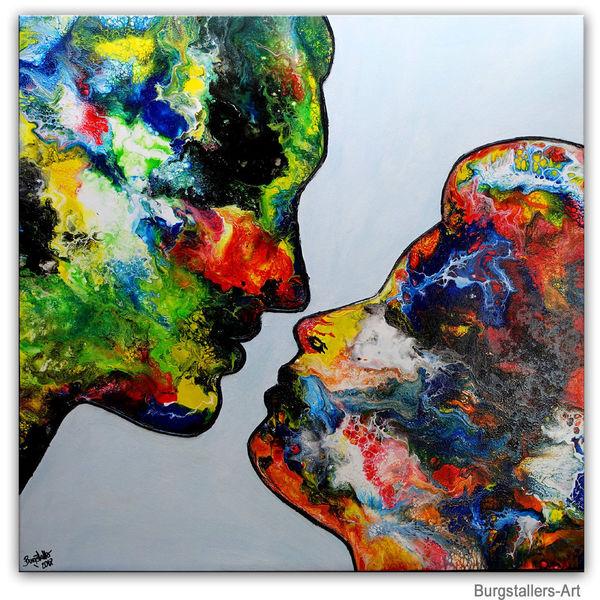 Kuss, Liebespaar, Mann frau, Malen, Gemälde, Moderne malerei