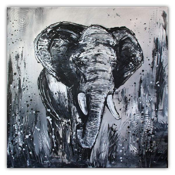 Tiere gemalt, Elefant, Elefant grau, Gemälde, Acrylmalerei, Gelb