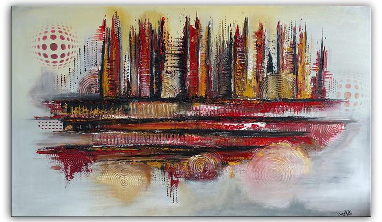Gemälde, Rot, Acrylmalerei, Ocker, Abstrakt, Malerei