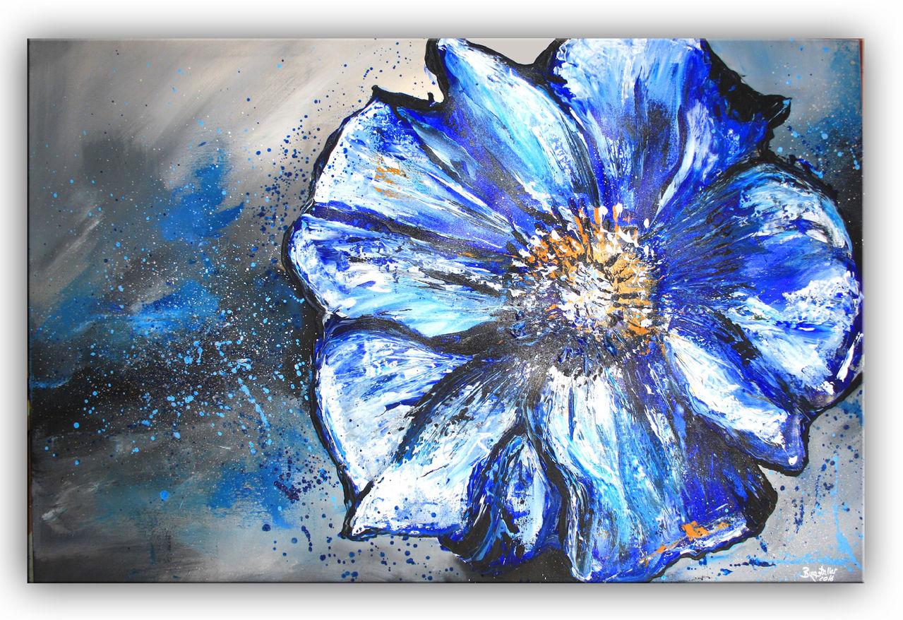 blumen bild blau silber malerei gem lde leinwandbild gem lde blumen blau wei von alex b. Black Bedroom Furniture Sets. Home Design Ideas