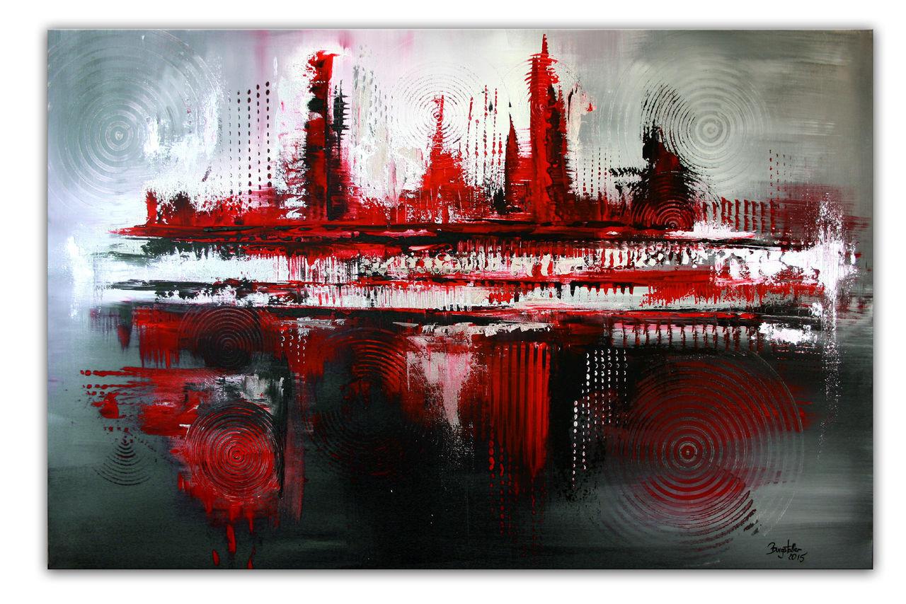 silber rot original gem lde abstrakt wandbild und. Black Bedroom Furniture Sets. Home Design Ideas