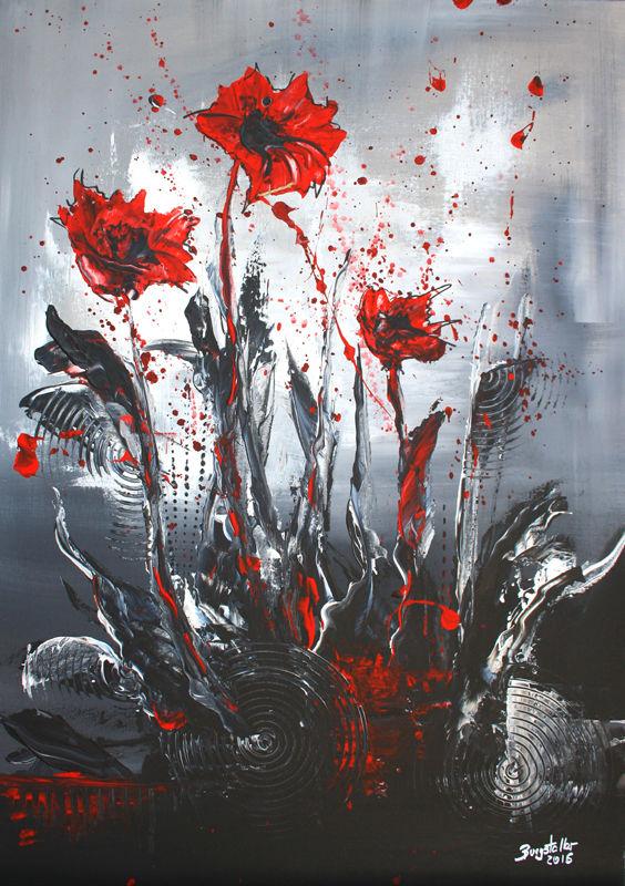 Sturmbluten Blumen Acrylbild Handgemalt Flower Painting Acryl