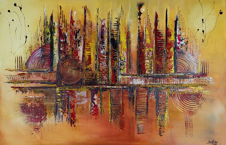 Ocker, Gelb, Malen, Rot, Abstrakt, Dekoration