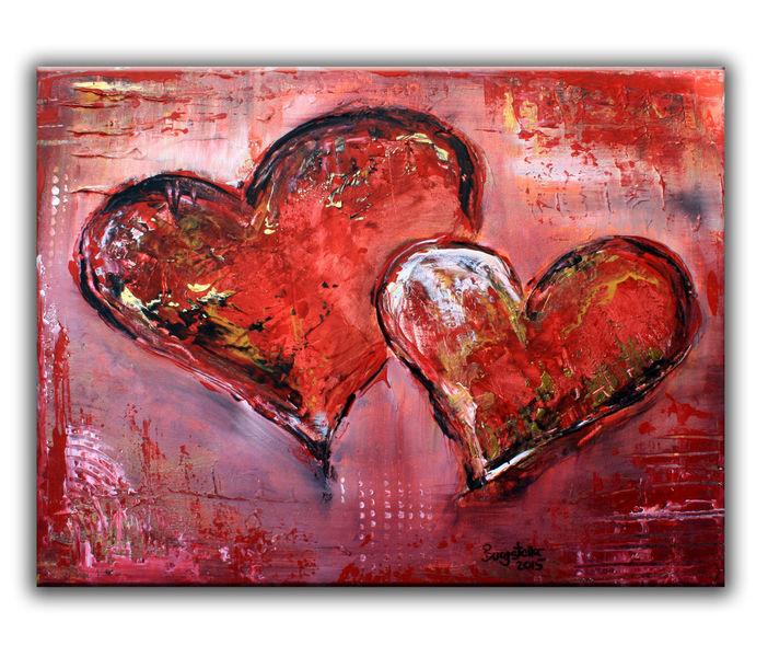Herz, Muttertag, Gemälde, Partner, Abstrakte gemälde, Malerei