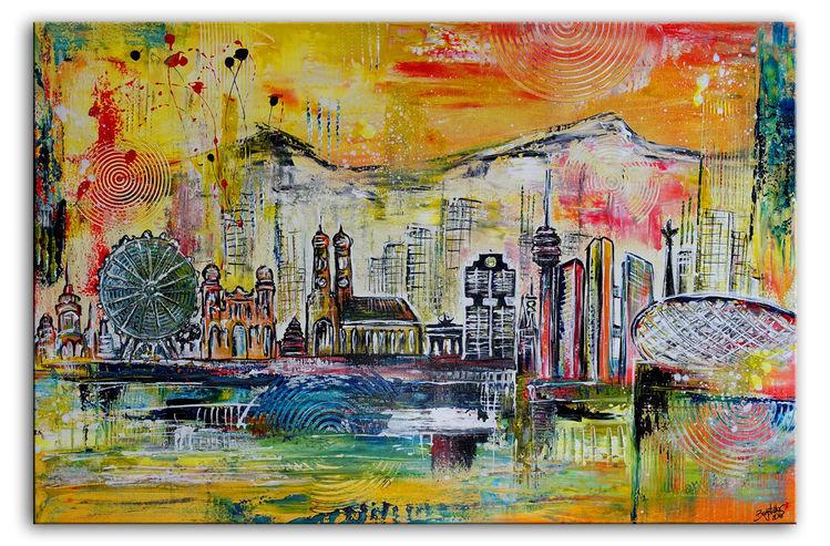 München, Stadt, Malen, Abstrakt, Gemälde, Skyline