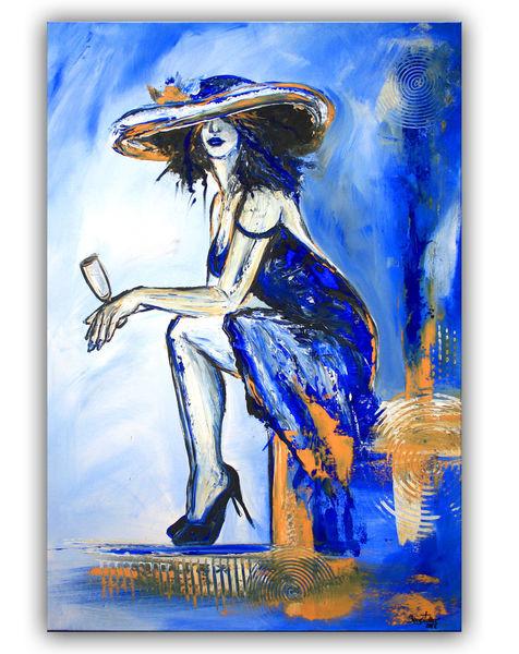 Frau, Ocker, Kleid, Gemälde, Frauen gemälde, Sektglas