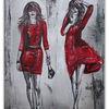 Gemälde, Frau, Malerei, Rote kleider