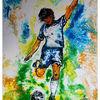 Fußball, Handgemaltes acrylbild, Blau grün, Malerei