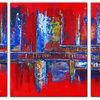Rot, Acrylmalerei, Handgemaltes, Blau