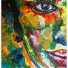 Buntes porträt, Wandbild, Abstraktes gesicht, Unikate