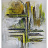 Stadtteil, Abstrakte kunst, Wandbild, Grau grün gelb