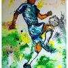 Gemälde, Blau grün gelb, Knie, Kunst bild
