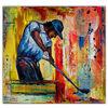 Blau rot gelb, Golfspieler handgemalt, Malerei,