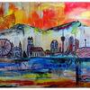 Stadt, Blau weiß gelb, Malen, Acrylmalerei
