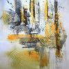 Acrylmalerei, Ocker, Abstrakt, Gemälde