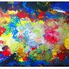 Malen, Acrylmalerei, Blau gelb rot, Malerei