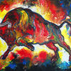 Rot gelb blau, Wandbild, Roter stier, Handgemald