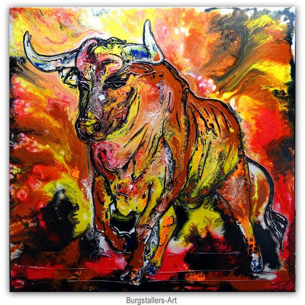 Bulle, Acrylmalerei, Fluid painting, Malerei, Gemälde, Stier