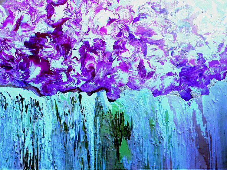 Blumen, Wasser, Mischtechnik,
