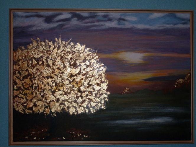 Acrylmalerei, Gold, Malerei, Baum