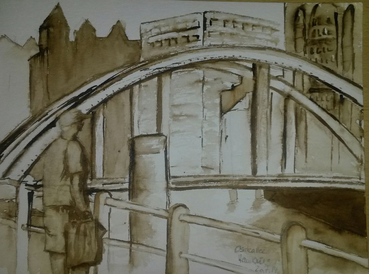 Bild einfarbig architektur aquarellmalerei aquarell for Architektur aquarell