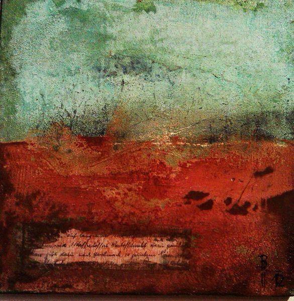 Abstrakt, Collage, Rost, Blau, Braun, Grün
