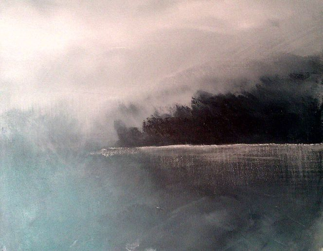See, Landschaft, Acrylmalerei, Weiß, Himmel, Nebel