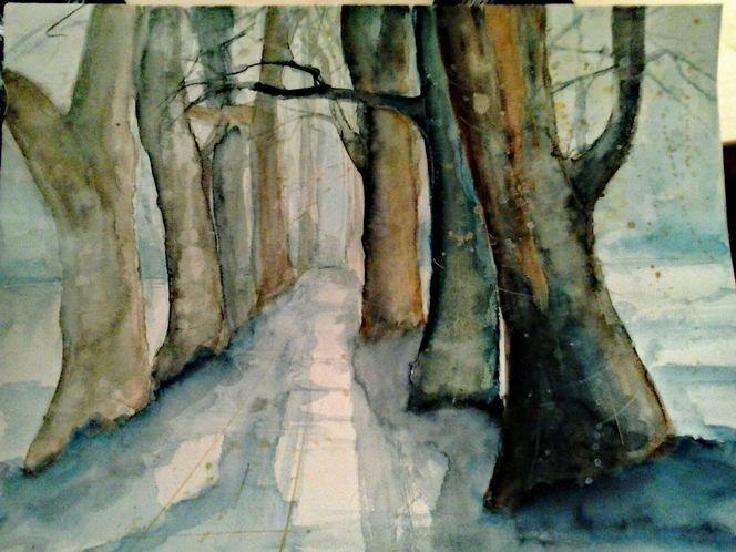 Aquarellmalerei, Blau, Natur, Baum, Landschaft, Aquarell