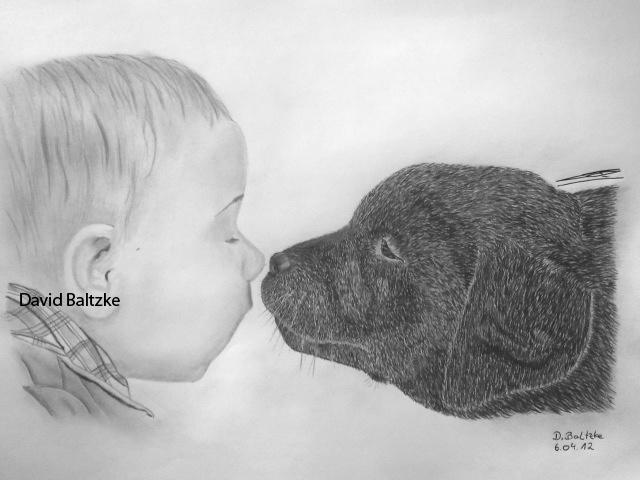 Baby, Hund, Malerei