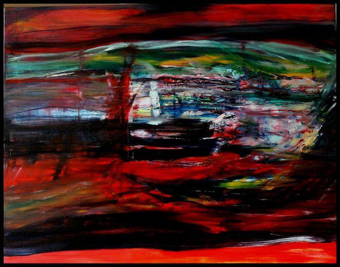Abstrakt, Landschaft, Lack, Malerei, Ölmalerei