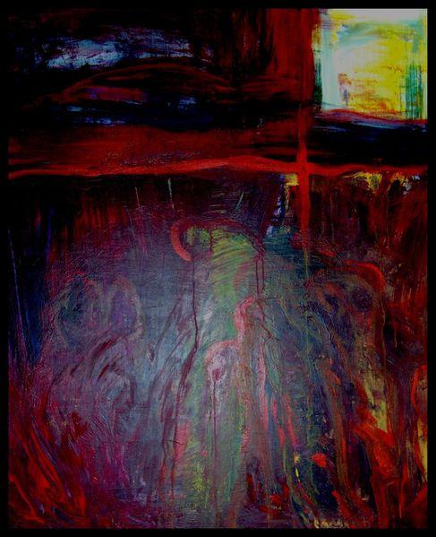 Mischtechnik, Abstrakt, Landschaft, Malerei, Ölmalerei, Acrylmalerei