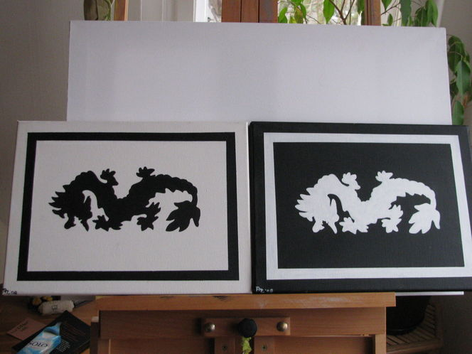 Identisch, Fantasie, Glück, Schwarz weiß, China, Drache