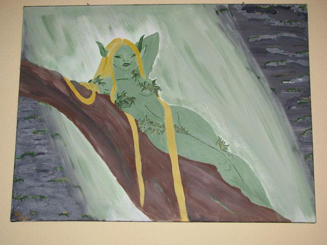 Baum, Wasserfall, Elfen, Grün, Malerei, Pflanzen